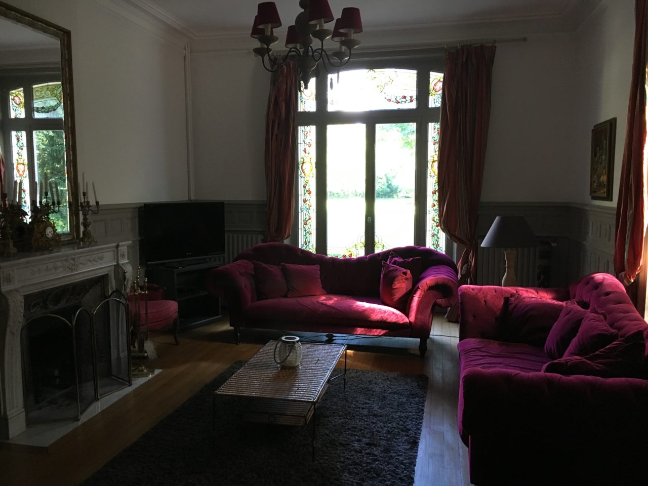 Roter Salon mit Kamin
